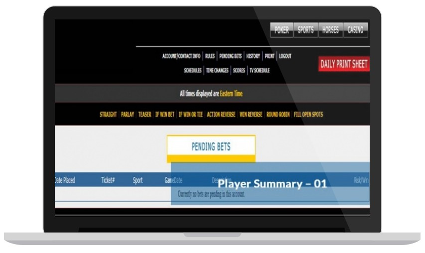 Pending Bets Player Summary Online Betting Software for Bookies & Bettors