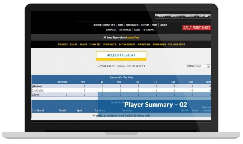 Player Summary Online Betting Software for Bookies & Bettors